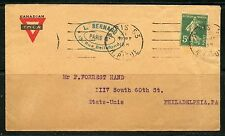 FRANCE COVER CACHETED  CANADA YMCA ENVELOPE 192? TO PHILADELPHIA