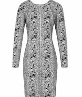 Reiss Fion Snake Print Dress in Black White Cocktail Mini Bodycon Structured 10
