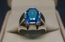 Rare Deep Blue Topaz Ring Sterling Silver 925 Handmade Topaz Mens Ring