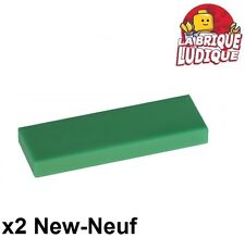 Lego - 2x Tile Plate Smooth 1x3 with Groove Green/Green 63864 New