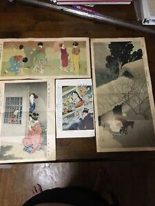 1930's Japan Japanese Woodblock Wood Block Print Vintage Old Antique #1