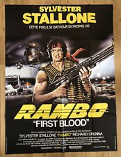 AFFICHE CINEMA 120 PAR 160 CM : RAMBO, FIRST BLOOD @ SYLVESTER STALLONE, CRENNA
