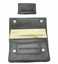 Premium Soft Black Leather Cigarette Rolling Tobacco Pouch 50g