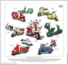 CLASSIC SCOOTERS OF THE 50s & 60s  FINE ART PRINT - Lambretta Vespa Rumi Heinkel