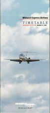 Midwest Express Airlines system timetable 3/17/91 [5112] (buy 4+ save 50%)