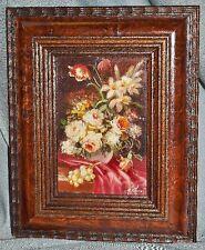 kleines Gemälde Blumenstilleben, Öl auf Holz
