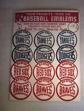 1940/50's Baseball Iron on Emblems display board Brooklyn Dodgers NY Yankees