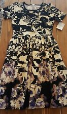 New Lularoe Amelia Dress Large Black Cream Floral Dipped Purple Roses Stripes