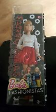 BARBIE FASHIONISTAS DOLL NO. 23 BROWN BOBBED HAIR AND RED SPARKLE SKIRT BNIB