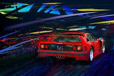 Automotive Motorsport Car Racing Art.  1992 FERRARI F40 large giclee print