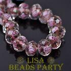 10pcs 12mm Faceted Rondelle Lampwork Glass Loose Spacer Beads Reddish Violet