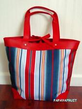 New Lancome Large Red White Blue Yellow Multi Stripe Shopper Canvas Tote Bag