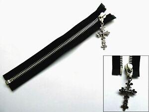 Zip, Zipper, Ornate Cross Puller, Open End, Metal, YKK, Black