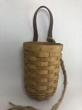 New ListingLongaberger Hanging Wine Basket Rare Leather Handle W/Sisal Braided Rope 2003
