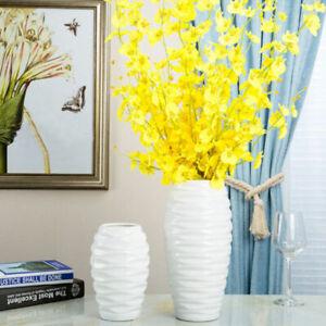 Large White Flower Vase Glazed Bottle Home Decor Ornament Cylinder Embossed Pot
