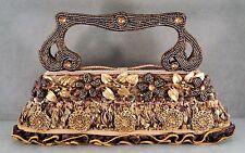 MARY FRANCES Handbag Purse Beads Sequins Ornate Metal Medallions Ruffled Bottom