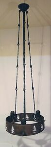 Art and Crafts Mission Wrought Iron Copper Ceiling Fixture Pinecones Pine Tree