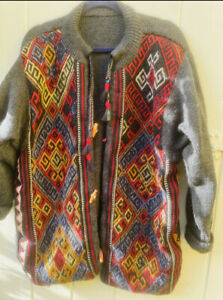 Vintage 1970 Tapestry Hippy Navajo Style One Off Jacket Duffle Coat Cardigan