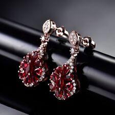 Antique Women Red Garnet Crystal Rose Gold Dangle Flower Earrings Jan Birthstone