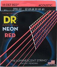 DR NRA-10 Neon RED Acoustic Guitar Strings 10-48