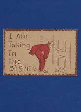 "ANTIQUE ""COMEDY"" GREETING POSTCARD MAN PEEPING THROUGH KEYHOLE 1908"