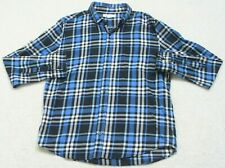 Aeropostale Dress Shirt Large Men's Plaid Top Long Sleeve Pocket Blue White Navy