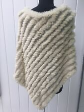 GENUINE RABBIT FUR KNITTED PONCHO/SWEATER  CREAM ONE SIZE
