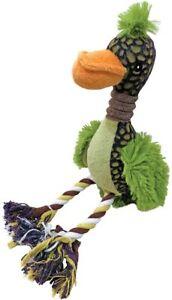 Scoochie Pet Fuzz Bird Green fuzzy Tough Dog Toy 12 inch Squeaker rope