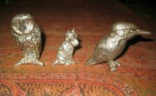 3 VINTAGE WHITE METAL PAPER WEIGHTS / FIGURINES SCOTTISH TERRIER,OWL& KINGFISHER