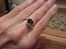 BRAND NEW 925 STAMPED RING WITH AMETHYST LOOK STONE SIZE O and gift box