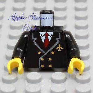 NEW Lego Pilot BLACK SUIT MINIFIG TORSO Jacket w/Red Tie Gold Air Plane Captain