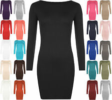 WOMENS BODYCON DRESS SHORT MINI TOP LONG SLEEVE LADIES 8-26 JERSEY TUNIC STRETCH