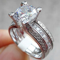 Newshe Engagement Wedding Ring Set For Women 1.8Ct Round Cz 14k White Gold 5-10
