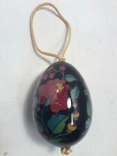 """Black Ceramic Porcelain Egg Ornament Painted With Flowers 3.5"""" Tall AllHollidays"""