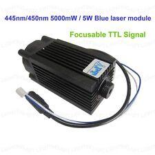 Focusable 445nm/450nm 5000mW/5W blue laser module TTL 12V DIY CNC engraving