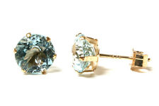 9ct Gold Blue Topaz round Earrings studs Gift Boxed Made in UK
