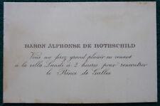 Baron Alphonse de Rothschild Invitation to Meet King Edward VII Cannes 1890s