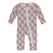 Kickee Pants Muffin Ruffle Coverall with Zipper in Sweet Pea Diictodon  3-6 mo