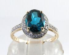 BIG 9K 9CT GOLD LONDON BLUE TOPAZ DIAMOND ART DECO INS HALO RING FREE RESIZE
