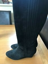 Next Black Wedge Knee High Boots Size 6 Suede