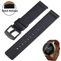 Quick Release Genuine Leather Watch Band Strap 18mm, 20mm, 22mm, Brown/Black