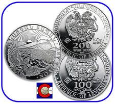 2012 Armenia 1/4 oz 100 Dram & 1/2 oz 200 Dram Noah's Ark Silver Coins