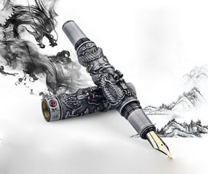 Jinhao Dragon Fountain Pen, Gray Steel Metal 18KGP Medium Nib Vintage Pens