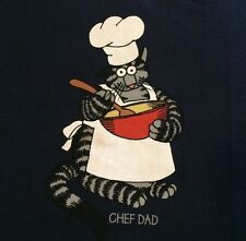 "NWT 2XL MENS KLiBAN ""CHEF DAD"" FAT CAT TABBY Navy Blue KiLBAN CRAZY SHiRT Hawaii"