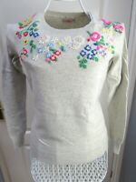 CATH KIDSTON Floral Jumper XS  6 8 RARE Beads Sequins Grey Knit Vintage Style