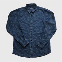 Mens Vintage Denim Shirt Medium Patterned Blue Good Condition.