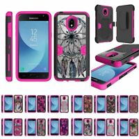 For Samsung Galaxy J3 (2018) J337 Heavy Duty Armor Hybrid Holster Clip Case Pink