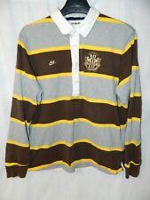 NIKE Mens UK F.C.Polo Rugby Shirt Long Sleeve 2XL Brown Yellow Gray Striped VTG