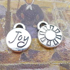 20pcs Round Charms Word Joy Tibetan Silver Bead Pendant DIY Craft 10*12mm