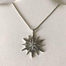"Judith Jack Sterling 925, Swarovski Crystal, & Marcasite Pendant Necklace 16"""